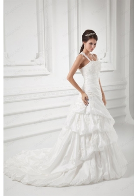 A-line Straps Appliques and Pick-ups Court Train Wedding Dress