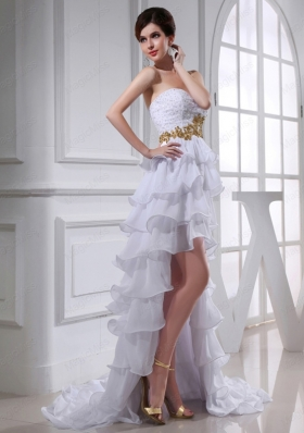 2015 Spring Empire Sweetheart Ruffled Layers Chiffon High Low Wedding Dress