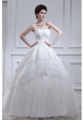 2015 Cheap A Line Strapless Beading Wedding Dress with Floor Length