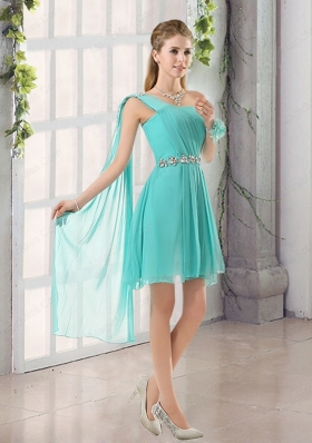 One Shoulder A Line Beading and Ruching Bridesmaid Dress with Lace Up