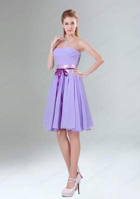 Decent Lavender Ruched Mini Length Bridesmaid Dress with Bowknot Sash