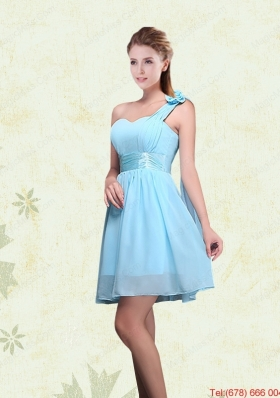 A Line Ruching Chiffon Dama Dresses with One Shoulder