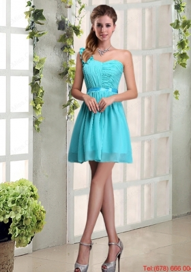 A Line One Shoulder Ruching Dama Dress with Belt
