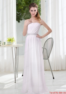 2015 Simple Empire Ruching Bridesmaid Dresses in White