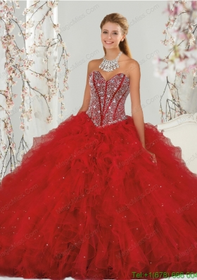 2015 Top Seller Beading and Ruffles Dresses for Quinceanera in Red