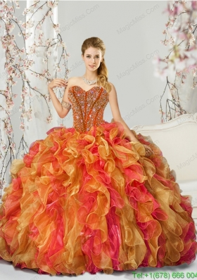 New Style Beading and Ruffles Multi-color Quinceanera Dresses for 2015