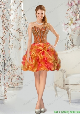 Luxurious Multi-color Dama Dress with Beading and Ruffles for 2015
