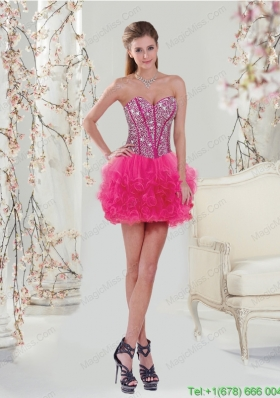 Trendy Beading and Ruffles Hot Pink Dama Dress for 2015