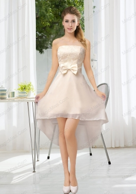 Luxurious Strapless A Line Prom Dresses with Belt and Lace