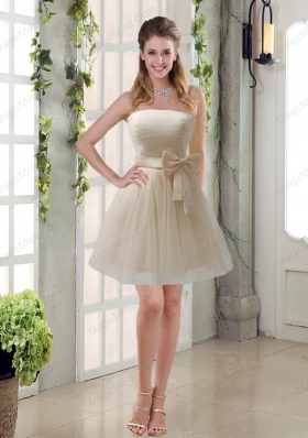 Simple Ruching Strapless Princess Mother of the Bride Dresses with Bowknot