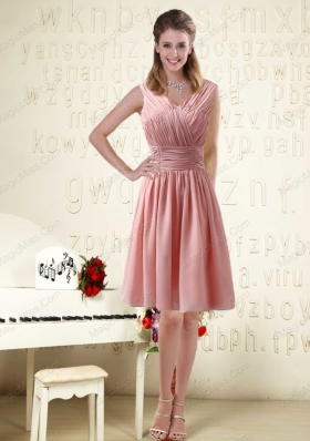 V Neck Empire Chiffon Ruching Mother of the Bride Dresses for 2015