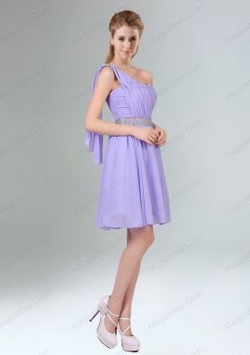 2015 Sassy Beaded and Ruched Short Mother of the Bride Dresses in Lavender