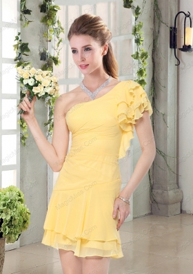 Flirting One Shoulder Cap Sleeve Mother of the Bride Dresses Mini Length