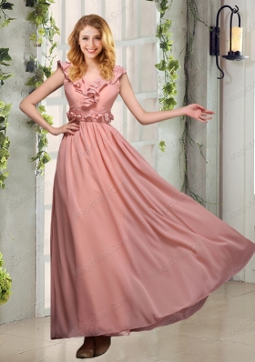 V Neck Empire Appliques Mother of the Bride Dresses with Floor Length