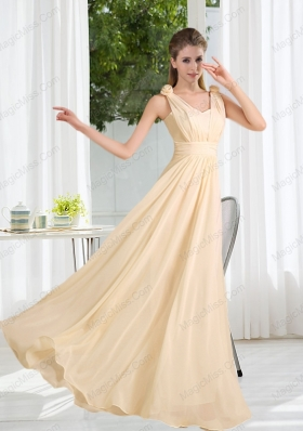 2015 Modest V Neck Empire Ruching Mother of the Bride Dresses