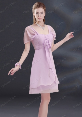 A Line Square Ruhing Mother of the Bride Dresses with Cap Sleeves
