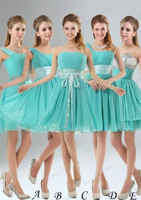 2015 A Line Ruching Lace Up Prom Dresses in Aqua Blue