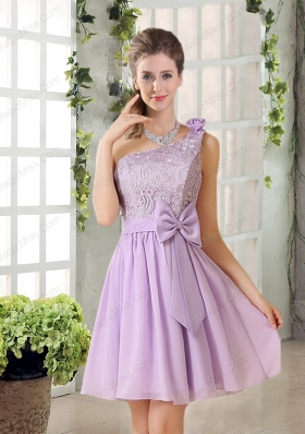 One Shoulder Lilac Prom Dresses with Bowknot for 2015