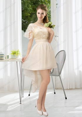 Lace High Low Short Sleeves Prom Dresses with One Shoulder
