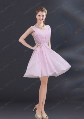 V Neck Beading 2015 Prom Dresses with Ruching