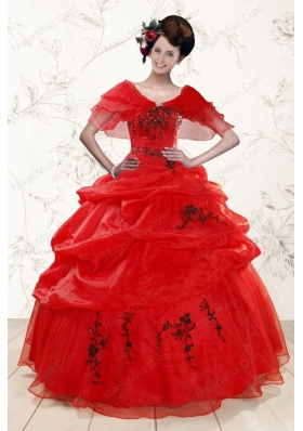 Sweetheart Red Quinceanera Dresses With Applique for 2015