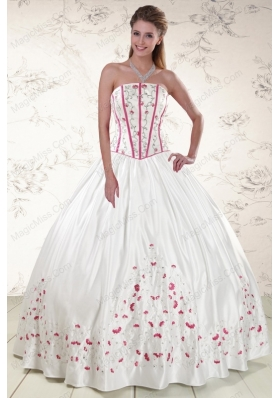 2015 Cheap Strapless Quinceanera Dresses with Appliques