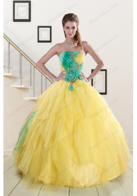 Classical Multi Color Quinceanera Dresses with Hand Made Flowers for 2015