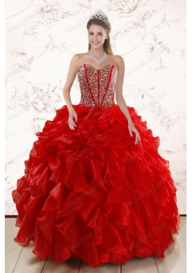 Sweetheart Pretty Red Quinceanera Dresses With  Beading and Ruffles for 2015