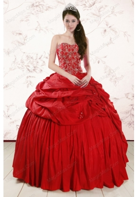 2015 Red Affordable Sweetheart Beading Quinceanera Dresses
