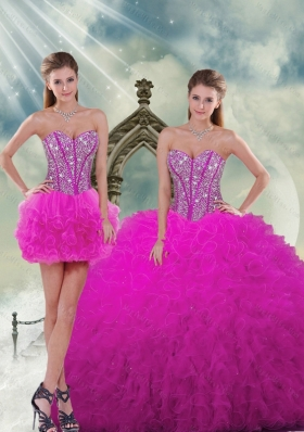 Luxurious Quinceanera Dresses with Beading and Ruffles in Fuchsia for 2015 Spring