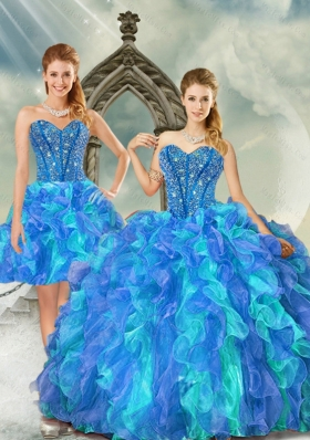 New Style and Detachable Beading and Ruffles Multi-color Quinceanera Dresses for 2015