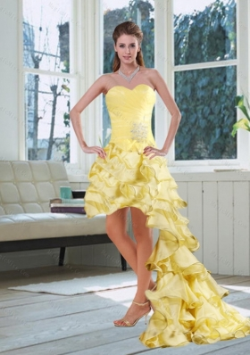 Light Yellow Sweetheart High Low Prom Dress with Beading and Ruffled Layers