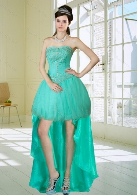 Apple Green Strapess High Low Prom Dresses with Embroidery and Beading