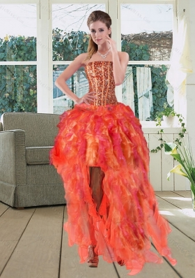 High Low Multi Color Strapless Prom Dresses with Beading and Ruffles