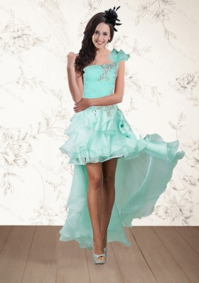 2015 Apple Green One Shoulder Prom Dresses with Embroidery and Hand Made Flower