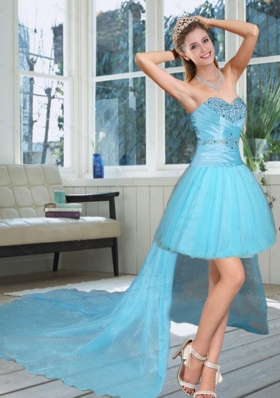 High Low Sweetheart Beaded Quinceanera Dress in Baby Blue