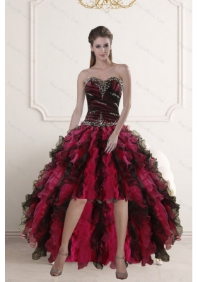 High Low Sweetheart Multi Color Prom Gown with Ruffles and Beading