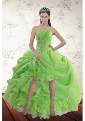 Spring Green High Low Prom Dresses with Ruffles and Beading