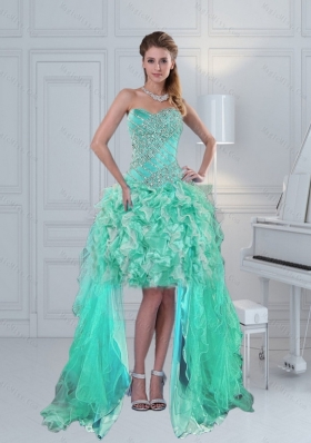 Prettu High Low Sweetheart Ruffles and  Beading Prom Dress in Apple Green
