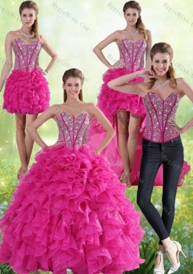 2015 Hot Pink Sweetheart Quinceanera Gown with Beading and Ruffles