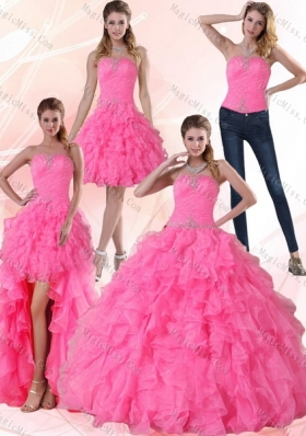 2015 Fashionable Strapless Floor Length Quinceanera Dress with Beading and Ruffles