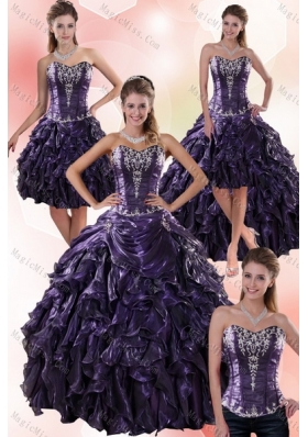 2015 Luxurious Sweetheart Ball Gown Purple Quince Dresses with Embroidery