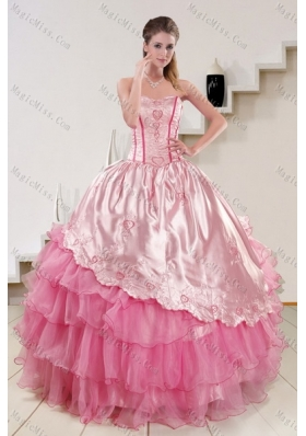 Strapless Pink 2015 Cute Quinceanera Dresses with Embroidery and Ruffles