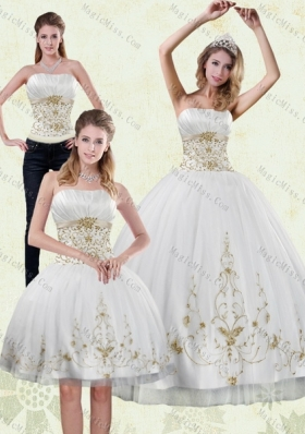 Modest 2015 Strapless Embroidery White and Gold Quinceanera Dresses