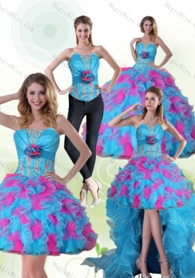 f63f500ccfa Beautiful Strapless Appliques and Ruffles Multi Color Sweet Fifteen Dresses