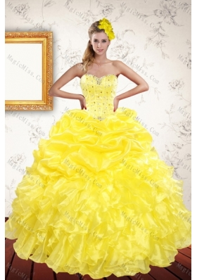 New Style 2015 Yellow Quinceanera Dresses with Beading and Ruffles