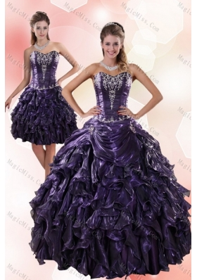 Classic Sweetheart Ruffled 2015 Quinceanera Dresses with Embroidery