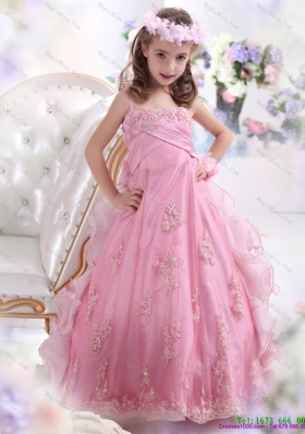 2015 Fashionable Rose Pink Spaghetti Straps Little Girl Pageant Dress with Appliques
