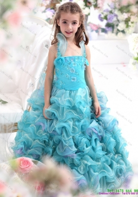 Fashionable Straps Appliques and Ruffled Layers Pageant Dresses for Kids in Aque Blue