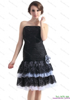 Black Short Prom Dresses with Ruching and Hand Made Flower